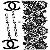 VIESN Tattoo Aufkleber Temporäre Körperkunst Entfernbare Muster Sticker für Ihre Körper Weiß Schwarz Design 3 (Mode27)