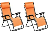 Outsunny Zero Gravity Recliner Lounge Patio Pool Chair - 2 PACK - Orange