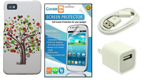 Coveron® Blackberry Z10 Hard Plastic Slim Case Bundle With Clear Anti-Glare Lcd Screen Protector & White Micro Usb Data Cable & White Wall Charger Adapter - Contempo Tree