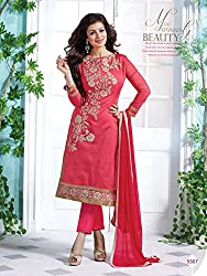 Typify Women's Dress Material(TYPIFY579_Pink_Free Size)