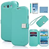 Galaxy S3 Case,By Ailun(TM),Galaxy S3 Wallet Case,Galaxy S3 Leather Case,Credit Card Holder PU Flip Cute Case Cover [Mint Green] whith Screen Protector with Styli Pen