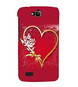 printtech Heart Ribbon Flower Love Back Case Cover for Huawei Honor Holly