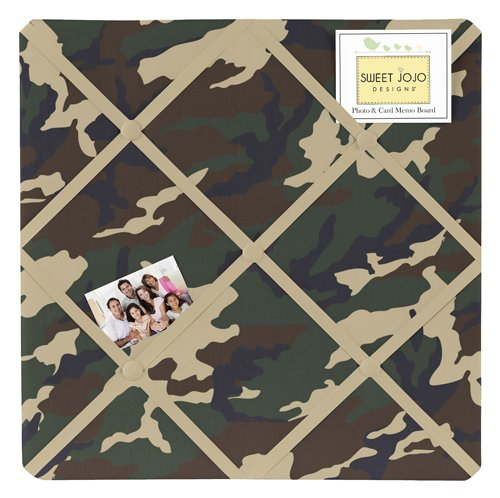 Green Camo Fabric Memory/Memo Photo Bulletin Board by Sweet Jojo Designs (Room And Board Bed compare prices)