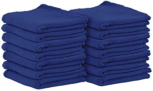 Shop Towels (Pack of 100, 13 X 13 Inches) Commercial Grade Machine Washable Cotton Washcloths Lint Free Blue Shop Rag - Perfect for Auto Mechanic Work and Bar Mop by Utopia Towel (Blue Shop Towels compare prices)