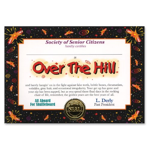 "Over-The-Hill Certificate Greeting 5"" x 7"" - 1"