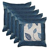 Hashcart Blue Silk Cushion Covers (16x16) Inches- Set Of 5