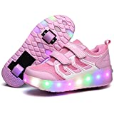 Uforme Colorful LED Lights Heelys Children Light Skate Shoes Fashion Sneakers for Girls Boys (3 M US=CN34, Double Wheel Pink)