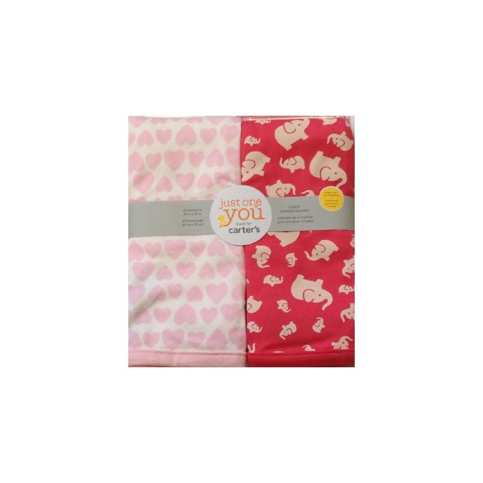 Carters Infant Baby Newborn 2 pack swaddle Blanket Set (Hearts, Elephants) Pink, Girl Blankets
