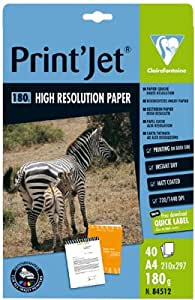Clairefontaine-papier Couche Jet D'encre A4 180g Recto/verso - Pochette De 40f