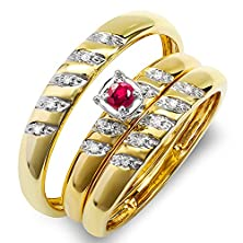 buy 10K Yellow Gold Round White Diamond And Ruby Men & Women'S Diamond Ring Trio Set