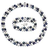 Sterling Silver 6-7mm 2 Rows Freshwater Pearl MultiColor Necklace 17