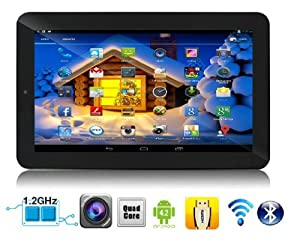 "SVP 7"" Quad Core Android 4.2.2 Tablet PC With 8GB Memory Card, Dual Camera , HD Display , Black Color , Capacitive 5 Point Multi-Touch Screen , Support 3D Game , 3G Dongle , HDMI , Wi-Fi , E-Book , Features Google Play Store, Skype, YouTube and G-Sensor ("