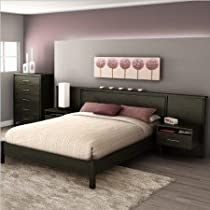 Big Sale South Shore Gravity Queen Platform Bed and Headboard/Nightstand Kit in Ebony Finish