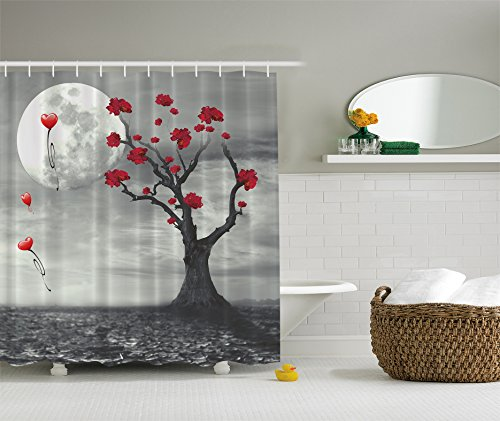 Full Moon Red Flowers Red Celebration Apartment Decorations Party Balloons Moonlight Sonata Mystic Romance Valentines Art Decor Lovely Romantic Home Bath Textile Polyester Fabric Shower Curtain