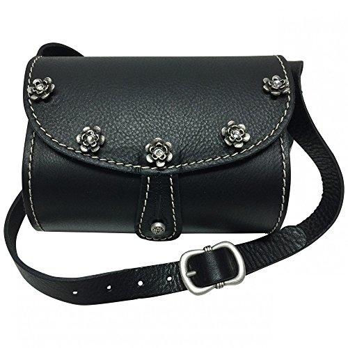 Trachtentasche-Dirndl-Handtasche-Trachten-Tasche-Ledertasche-schwarz-versilbert