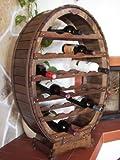 Weinregal Weinfass für 24 Flaschen Braun gebeizt Bar Flaschenständer Fass Flaschenhalter
