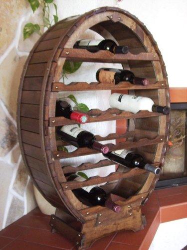 Weinregal-Weinfass-fr-24-Flaschen-Braun-gebeizt-Bar-Flaschenstnder-Fass-Flaschenhalter