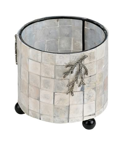 Neda Behman Mother of Pearl & Sterling Silver Round Candle Holder
