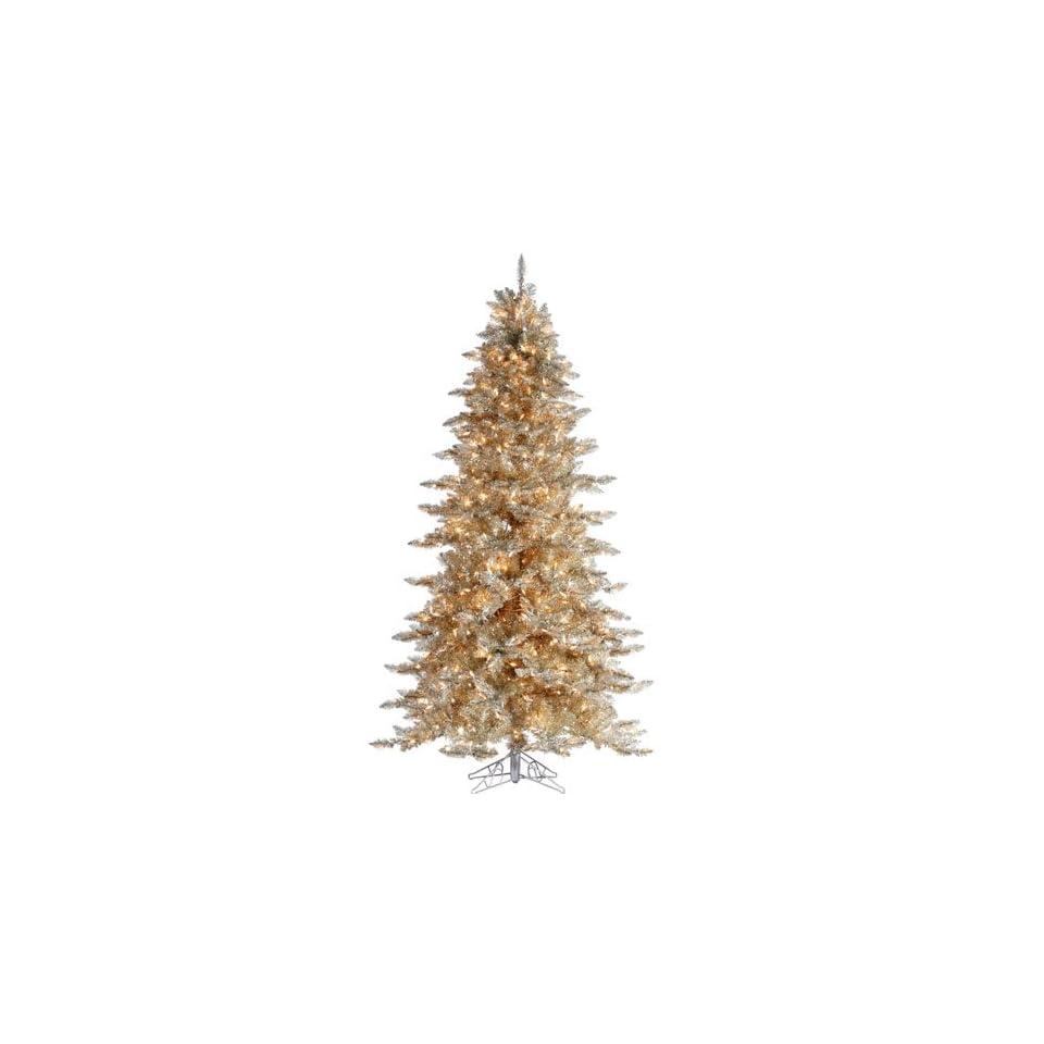 5 Pre Lit Layered Platinum Gold Frasier Fir Artificial Christmas Tree Clear Lit