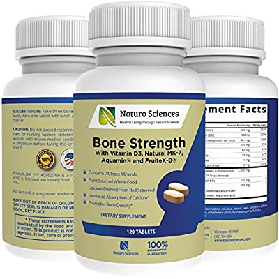 Calcium Bone Strength by Naturo Sciences, Contains Vitamin D3, FruiteX-B®, Aquamin®, MK-7, Bromelain, Magnesium and 74 Trace Minerals - Bone and Tissue Density, 120 Tablets