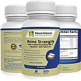 Calcium Bone Strength by Naturo Sciences, Contains Vitamin D3, FruiteX-B®, Aquamin®, MK-7, Bromelain, Magnesium and 74 Trace Minerals - Bone and Tissue Density, 120 Tablets