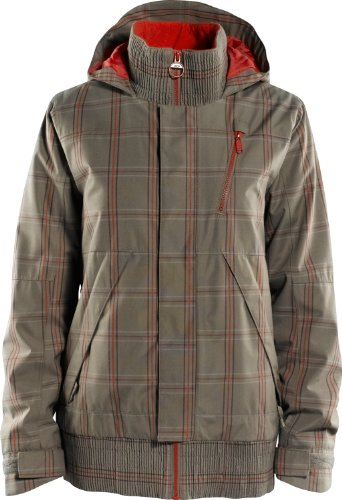 Foursquare Rotary Ski Snowboard Jacket Walnut Plotter Plaid Womens Sz M