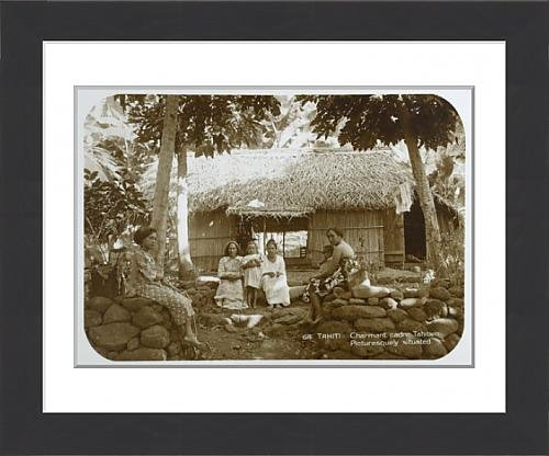 framed-print-of-tahitian-villagers