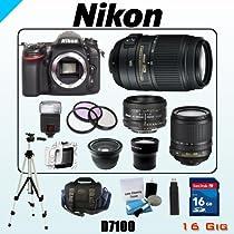Nikon 24MP D7100 Bundle - Includes Nikon AF-S DX NIKKOR 18-105mm f/3.5-5.6G ED VR - AF-S DX NIKKOR 55-300mm f/4.5-5.6G ED VR - AF Nikkor 50mm f/1.8D - 16GB SDHC Memory Card - USB Memory Card Reader - 3 Piece Lens Filter Kit - Spare Lithium Battery - Digital Flash - Lens Cleaning Kit - Full Size Tripod - Carrying Case