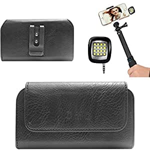 DMG Premium PU Leather Cell Phone Pouch Carrying Case with Belt Clip Holster for Micromax Canvas Turbo A250 (Black) + 3.5mm Continuous LED Spotlight Flash