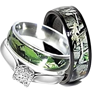 Amazon Camo Wedding Rings Set His And Hers 3 Rings Set Stainless Steel And Titanium Size