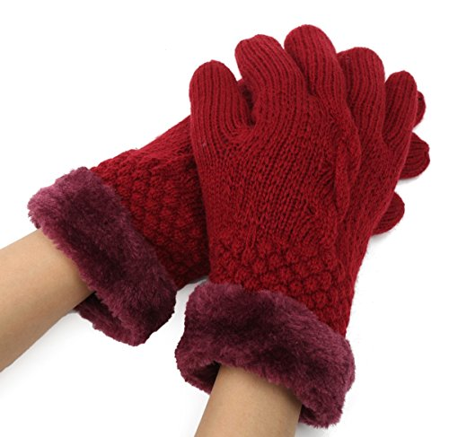 1 Pc (1-Pair) Pre-eminent Popular Hot Women's Mittens Warm Glove Thermal Decor Winter Season Driving Gifts Color Red Wine (Deerskin Chopper Mittens compare prices)
