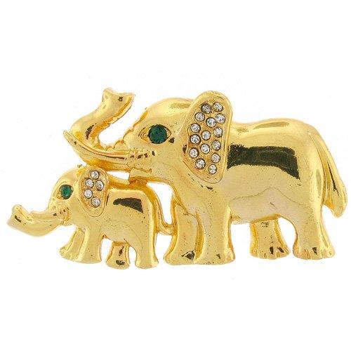 Brooches Store in oro brillante e cristalli Swarovski, con spilla, motivo: mamma e cucciolo di elefante