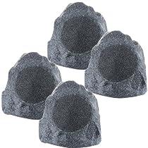 """Theater Solutions 4R8G 2 Pairs of New 8"""" Woofers Outdoor Garden Waterproof Granite Rock Patio Speakers"""