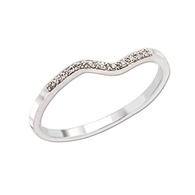 Posh Diamonds diamond ring in 14 carat (585) White Gold with 11 Diamonds Approx. 0.03ct.