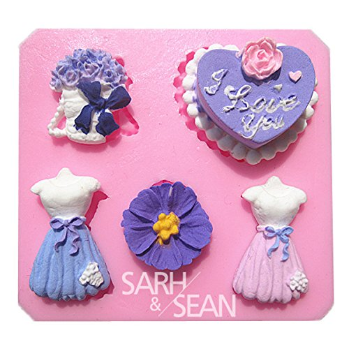 Wedding Heart-Shaped Cake Bouquet Skirt Fondant Cake Molds Soap Chocolate Mould For The Kitchen Baking front-528505