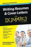 img - for Writing Resumes and Cover Letters For Dummies 2nd Australian and N edition by McCarthy, Amanda, Southam, Kate (2014) Paperback book / textbook / text book