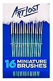 Art Lost Detail Paint Brush Taklon Hair/Hand Made, Set of 16, White