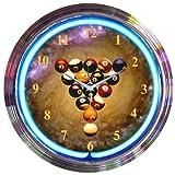 Billiards Spaceballs Neon Clock (Blue) (15