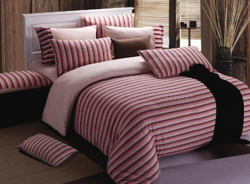 Super Soft 100% Cotton 4 Pcs Pink Stripe Jersey Duvet Cover Set With Fitted Sheet Included In Queen Size