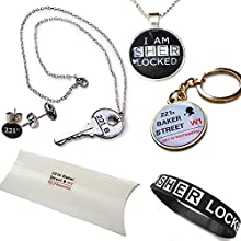 Sherlock Holmes 221B de Baker Street paquete de regalo. Collares, pulseras, pendientes y anillo dominante