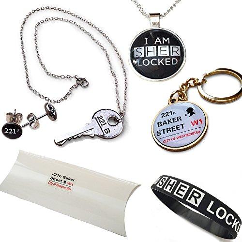 Sherlock Holmes 6 pezzo pacchetto regalo. Collane, bracciali e spille