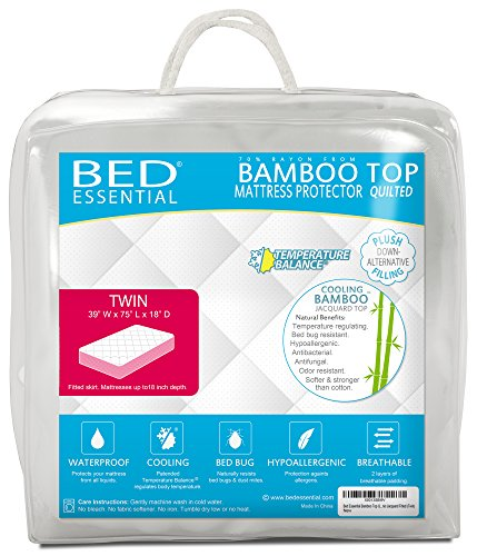Bed Essential Bamboo Top Quilted Waterproof Mattress Protector Cooling Pillow Topper Cover Pad Bed Bug Hypoallergenic Jacquard Fitted (Twin)