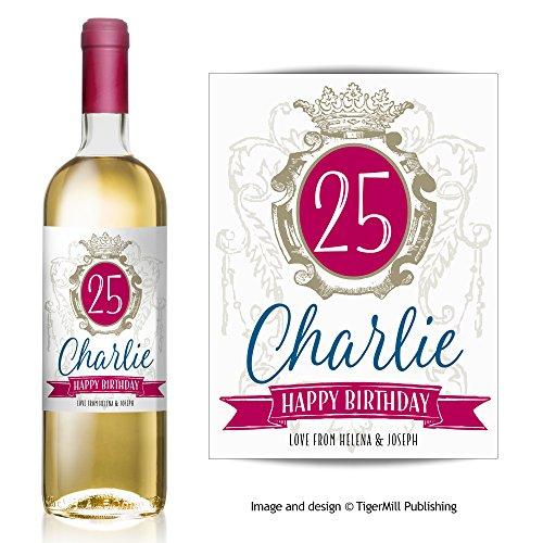 Cadeau personnalisé étiquette de bouteille de vin style shabby chic Birthday Celebration n'importe quelle occasion