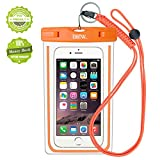 iPhone6/Samsung 防水ケース EOTW 防水携帯ケース 救助用ネックストラップ付属 IPX8 オレンジ