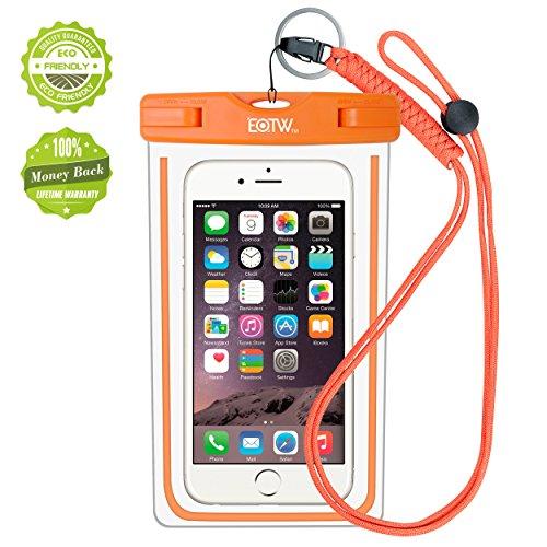iPhone6/Samsung 防水ケース EOTW® 防水携帯ケース 救助用ネックストラップ付属 IPX8 オレンジ