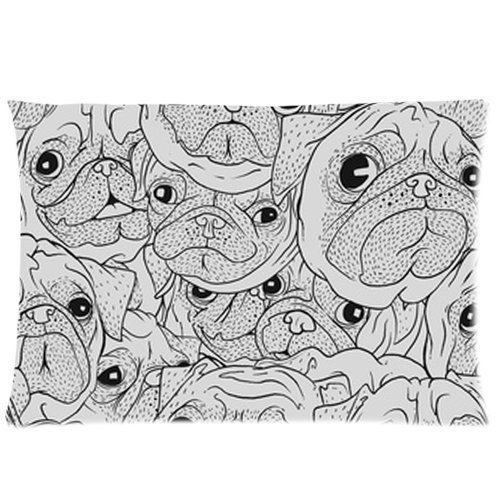Animal Dog Pet Puppy Pug Faces Custom Zippered Bed Pillow Cases 20X30 (Twin Sides)