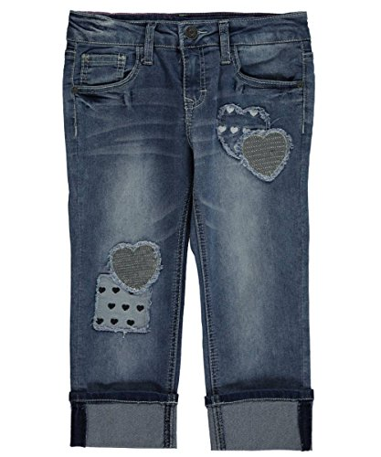 """Lee Big Girls' """"Heart Patches"""" Cuffed Crop Jeans - vintage, 10"""