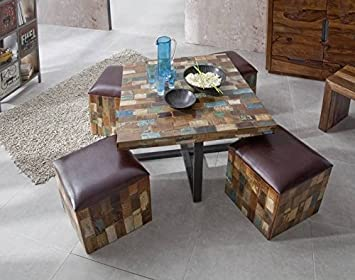 Massivholz Leder Altholz Möbel Holz Vintage lackiert Essgruppe Massivmöbel massiv Holz mehrfarbig Detroit #13