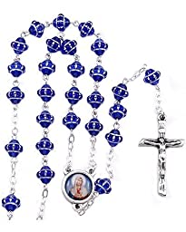Sacred Heart of Mary Blue Medieval Beads Rosary