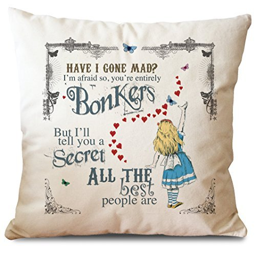 Alice in Wonderland Mad Hatter Tea Party Cushion Cover Bonkers Hearts by Giraffe and Custard